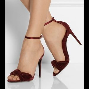 Burberry Heels Red Velvet Satin Ankle Party 11 NWT